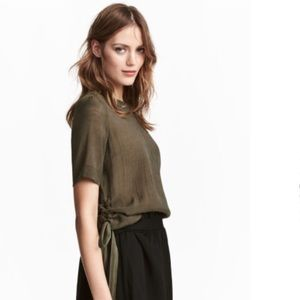 H&M Olive Green Side Tie Top- D27